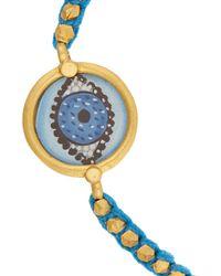 Iam By Ileana Makri - Blue Evil Eye Gold-Plated, Enamel And Cotton Bracelet - Lyst