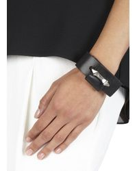 Alexander McQueen - Black Leather Cuff - Lyst