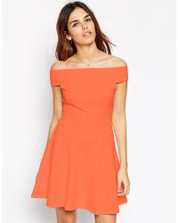 ASOS | Pink Bardot Dress In Jumbo Rib | Lyst