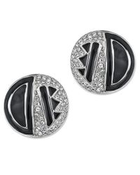 Kenneth Jay Lane | Metallic Black Enamel Art Deco Button Earring | Lyst