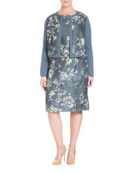 Lafayette 148 New York - Blue Floral Cloqué Panel Shrug - Lyst
