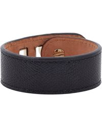 Valextra | Black Grained Leather Bracelet | Lyst