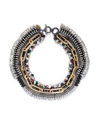 Venna | Metallic Crystal Chain Spike Necklace | Lyst