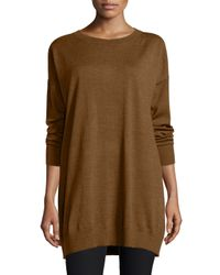 Eileen Fisher - Brown Merino Jersey Icon Tunic - Lyst