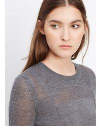 Vince - Gray Engineered Mesh Wool Crew Neck Sweater - Lyst
