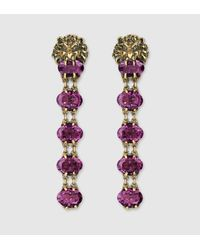 Gucci - Purple Lion Head Earrings With Crystals - Lyst