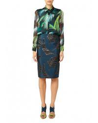 Matthew Williamson | Blue Palm Chiffon Silk Shirt | Lyst