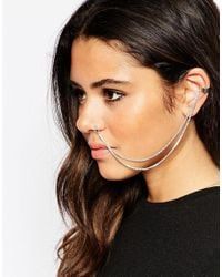 ASOS | Metallic Double Draping Chain Ear & Faux Nose Cuff | Lyst