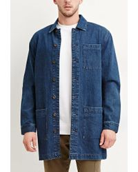Forever 21 - Blue Longline Denim Jacket for Men - Lyst