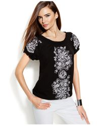 INC International Concepts - Black Smocked Embroidered Peasant Top - Lyst