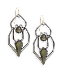 Alexis Bittar | Green Miss Havisham Kinetic Gun Pyrite Geometric Double-drop Earrings | Lyst
