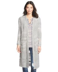 Caslon | White 'thick Thin' Long Open Front Cardigan | Lyst