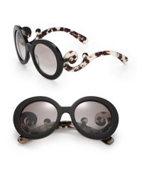 Prada | Black 55mm Round Sunglasses | Lyst