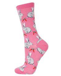 TOPSHOP - Purple Hot Sox Bunnies Socks - Lyst