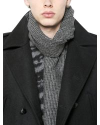 Saint Laurent - Gray Houndstooth Wool Scarf for Men - Lyst