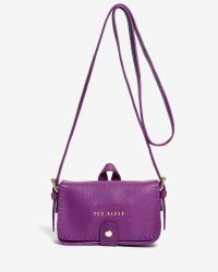 Ted Baker | Purple Leather Stab Stitch Cross Body Bag | Lyst