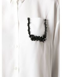 N°21 - White Embellished Pocket Blouse - Lyst