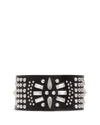 Alexander McQueen - Black Skull Charm Stud Medallion Leather Bracelet for Men - Lyst