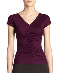 Akris Punto - Purple Ruched Jersey Top - Lyst