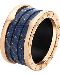 BVLGARI - B.zero1 Four-band 18ct Pink-gold And Blue Marble Ring - Lyst