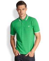 Fred Perry - Green Twin Tipped Polo for Men - Lyst