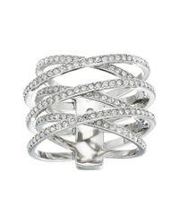 Michael Kors | Metallic Pave Crisscross Ring | Lyst