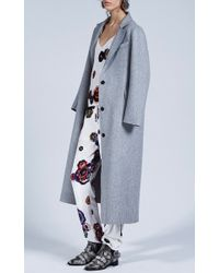 MSGM - Gray Grey Wool Felt Coat - Lyst