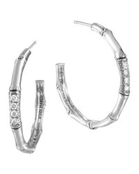 John Hardy - Natural Bamboo Silver Diamond Medium Hoop Earrings - Lyst