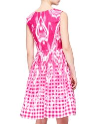 Oscar de la Renta | Purple Ikat Gingham Fit-And-Flare Dress | Lyst