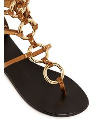 Giuseppe Zanotti - Metallic 'Rock' Metal Ringlet Mirror Leather Sandals - Lyst