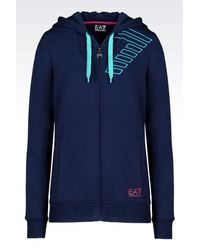 EA7 - Blue 7colours Line Full Zip Hooded Sweatshirt - Lyst