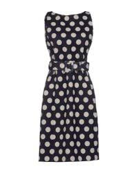 Moschino - Polka Dot Dark Blue Knee Length Dress - Lyst