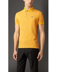 Burberry | Yellow Contrast Tipping Detail Polo Shirt for Men | Lyst