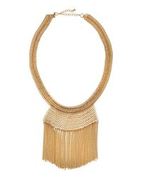 Lydell NYC - Metallic Fringe Statement Necklace - Lyst