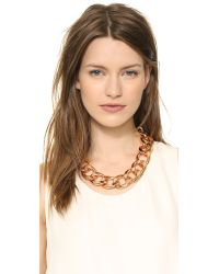Kenneth Jay Lane - Pink Chain Link Choker Necklace Rose Gold - Lyst