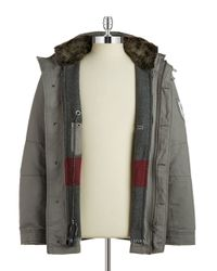 Strellson | Gray Faux Fur-collared Coat for Men | Lyst