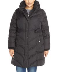 DKNY | Black 'faith' Front Inset Pillow Collar Down & Feather Fill Coat | Lyst