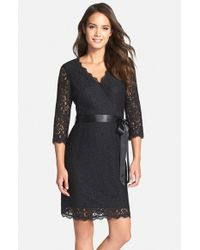 Adrianna Papell - Black Wrap Lace Dress - Lyst