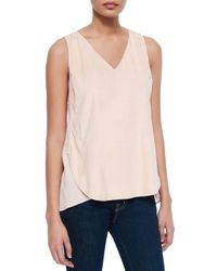 Lafayette 148 New York | Pink Minna Suede Silk Blouse | Lyst