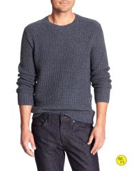 Banana Republic | Blue Factory Waffle-knit Crew-neck Sweater for Men | Lyst