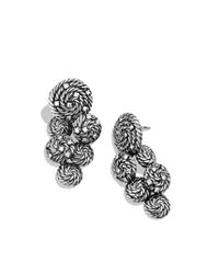 David Yurman | Metallic Cable Coil Cluster Earrings with Diamonds | Lyst