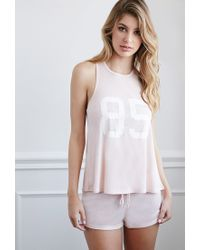 Forever 21 | Pink 85 Graphic Ribbed Pj Set | Lyst
