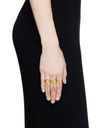 Ela Stone | Metallic 'daisy Trio' Three Finger Ring | Lyst