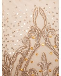 Badgley Mischka - Metallic Beaded Embroidered Long Dress - Lyst