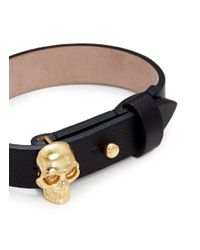 Alexander McQueen - Black Skull Leather Bracelet - Lyst