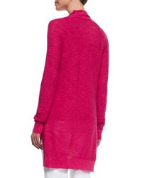 Eileen Fisher | Pink Linen-cotton Slub Cardigan | Lyst