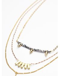Free People | Metallic Luxe Triple Necklace | Lyst