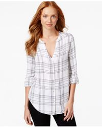 Calvin Klein Jeans | Gray V-neck Plaid Shirt | Lyst