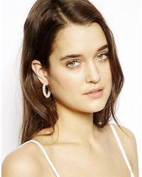 ASOS - Pink Seedbead Hoop Earrings - Lyst