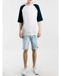 TOPMAN - Gray Grey/navy Raglan Oversized Short Sleeve Hoodie for Men - Lyst